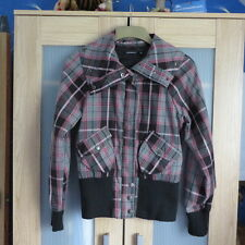 Atmosphere Bomber style pink/grey Plaid jacket size 12 excellent