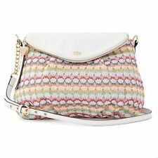 Juicy Couture Messenger Crossbody Chainlink Textured Fabric Crocheted Bag