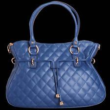Noble Bags Zara Quilted Blue XL Strap Hobo Bag Damen Lederhandtasche *UVP 199€*