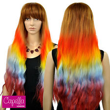 Celebrity Light Brown Long Wavy Rainbow Ombre Wig Fringe Hair Pride Nicki Minaj