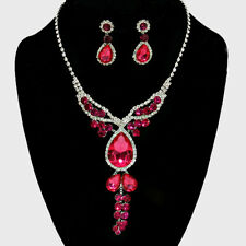 FUCHSIA PINK TEARDROP RHINESTONE BRIDAL SILVER STATEMENT NECKLACE EARRING SET