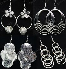 Freeshipping Mix Fashion Style 10pairs Silver Women Drop Earrings Wholesale Lots