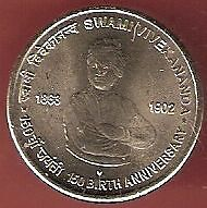 INDIA 5 (FIVE) RUPEES 2013 SWAMI VIVEKANANDA 150 BIRTH ANNIVERSARY 2 COINS LOT