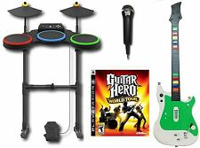 PS3 Guitar Hero World Tour Complete Set Bundle wireless kit drums mic game RARE