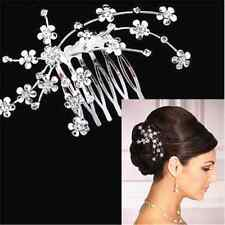 Fashion Bridal Bridesmaid Wedding Plum Flower Crystal Hair Comb Headpiece Gift F