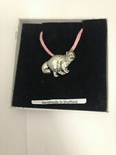 Birman Cat PP-05 Pewter Pendant on a PINK CORD Necklace