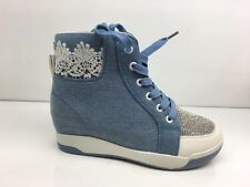 LADIES WOMENS BLUE DENIM LOOK LACE UP HIDDEN WEDGE DIAMANTE TRAINERS SIZE 6