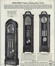 1943 PAPER AD Herschede Tubular Chiming Floor Hall Grandfather Clock