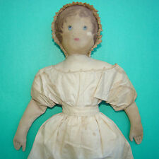 1800s Moravian Church Benefit Cloth Rag Doll Polly Heckewelder Painted Face 18in