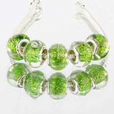 5pcs 925 silver plated MURANO glass bead LAMPWORK fit European Charm Bracelet