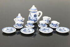 Lot of 15 Flower Porcelain  Puppenhaus Miniature Coffee Tea Cup Set  blue art