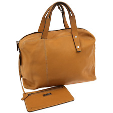 100% Authentic LOEWE Logos Hand Bag Light Brown Leather Spain Vintage V08782