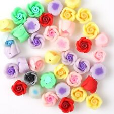 Free P&P 40 Mixed Fimo Clay Polymer Flower Beads 110625