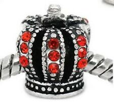 SILVER TONE RED CRYSTAL CROWN CHARM BEAD