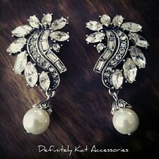 Stunning vintage white crystal leaf & pearl statement bridal clip on earrings
