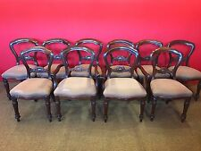 SETS OF 10 VICTORIAN STYLE BALLOON BACK CHAIRS PRO FRENCH POLISHED.