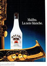 PUBLICITE ADVERTISING 086  1987  Malibu coconut light drink La note Blanche