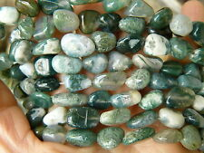 Moss Agate beads Chunky freeform 37-count