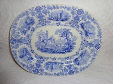 Rare Size 19th.c Staffordshire Marmora Pattern Platter, c.1830-1854, Antique