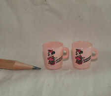 U074 Dollhouse 2pcs Vintage Minnie mouse cups Kitchen Miniature re-ment 1:12
