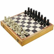 Indian Handmade Stone and Wood Chess Set Unique Gifts for Kids and Adults