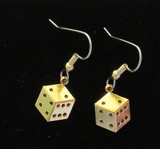 Dice Earrings 24 Karat Gold Plate Gambling Snake Eyes Casino Games Lucky Roll Em