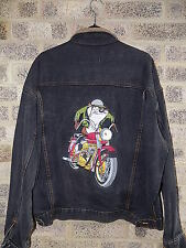 Vintage AcmeStudios denim leather jacket embroidered Tazmanian Devil Looneytunes