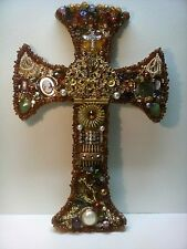 Hand crafted Jeweled Wall Art Cross Vintage/Modern Jewelry/Beads Home Decor