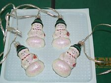 """4 Christmas Tree  Glass Snowman Figural Ornaments 3 1/4"""" High Hand Decorated"""