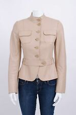 AKRIS PUNTO Beige Lambskin Leather Mandarin Collar Pocket Belted Jacket 34/4