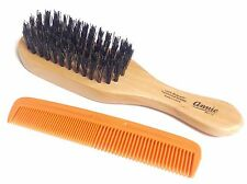 mini Wave Hard Brush with Pocket Comb 100% Boar and Reinforced Bristles (Beard)
