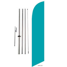 Solid Teal Marker Feather Banner Swooper Flag Kit with pole+spike