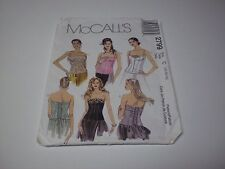 Mc Calls 2799 Lined Bustiers Zipper and Tie Back Sizes 10-12-14 uncut