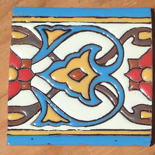 "8~Talavera Mexican 4"" tile Hi Relief Border Liner Pale blue Gold Red Brown white"