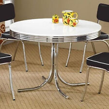 Retro Old Fashioned Vintage Dinette Dining Table Room Kitchen Chrome Frame Round