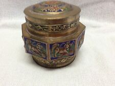 ANTIQUE ASIAN CLOISONNE AND BRASS FOO DOG DESIGN COVERED BOX