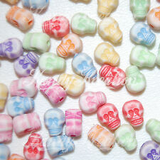 100 Skull Beads 9mm for Kandi Rave Day of the dead Sugar Red Green Blue White
