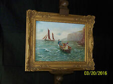 Antique c1894 Victorian Original Oil On Canvas Seascape Painting Artist Signed