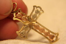 14K Yellow & Rose Gold Satin Frosted Heart Bright Cut Cross Necklcae Pendant