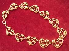 Vintage Gold Tone HEART Choker Necklace