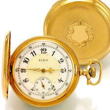 14K Gold Hunter Case Elgin Pocket Watch Fancy Dial CA1904 17 Jewels 16 Size