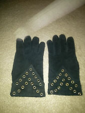 1980s Vintage Black Suede Gloves with Rivet detailing