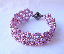 """Princess Grace"" Pink Pearl Cuff Bracelet w/ Magnetic Clasp Handmade in the US"
