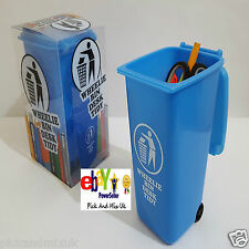 MEDIUM BLUE WHEELIE BIN, NOVELTY DESK TOP STATIONERY HOLDER PEN QUIRKY