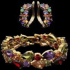 10k Yellow Gold Bracelet Earrings Set made w/ Swarovski Crystal Multicolor Stone