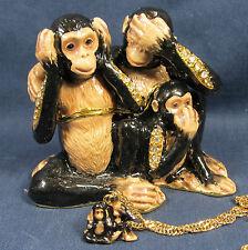 Evil Monkeys Jeweled Pewter Trinket Box w/necklace Wildlfie