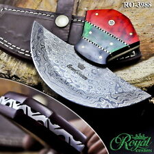 "6.25"" ROYAL CUSTOM FORGED DAMASCUS ULU KNIFE - HARD WOOD - RO-3988"