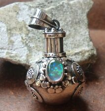 925 Sterling Silver-IL90-Balinese Perfume Bottle/Locket Pendant & OPAL