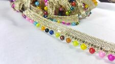 2cm- 1 meter Beautiful colourful balls beaded and gold sequins ribbon lace trim
