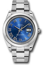 Rolex Oyster Perpetual Datejust II 41mm Stainless Steel Blue Roman Dial 116300